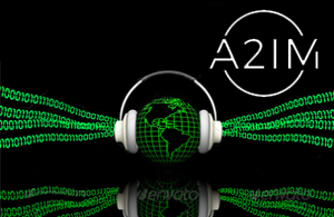 a2im logo over a wireframe model of the earth wearing headphones that are emitting binary code