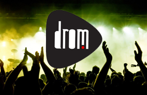 drom logo over a concert audience
