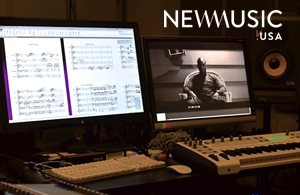 digital editing station showing a film score and a video